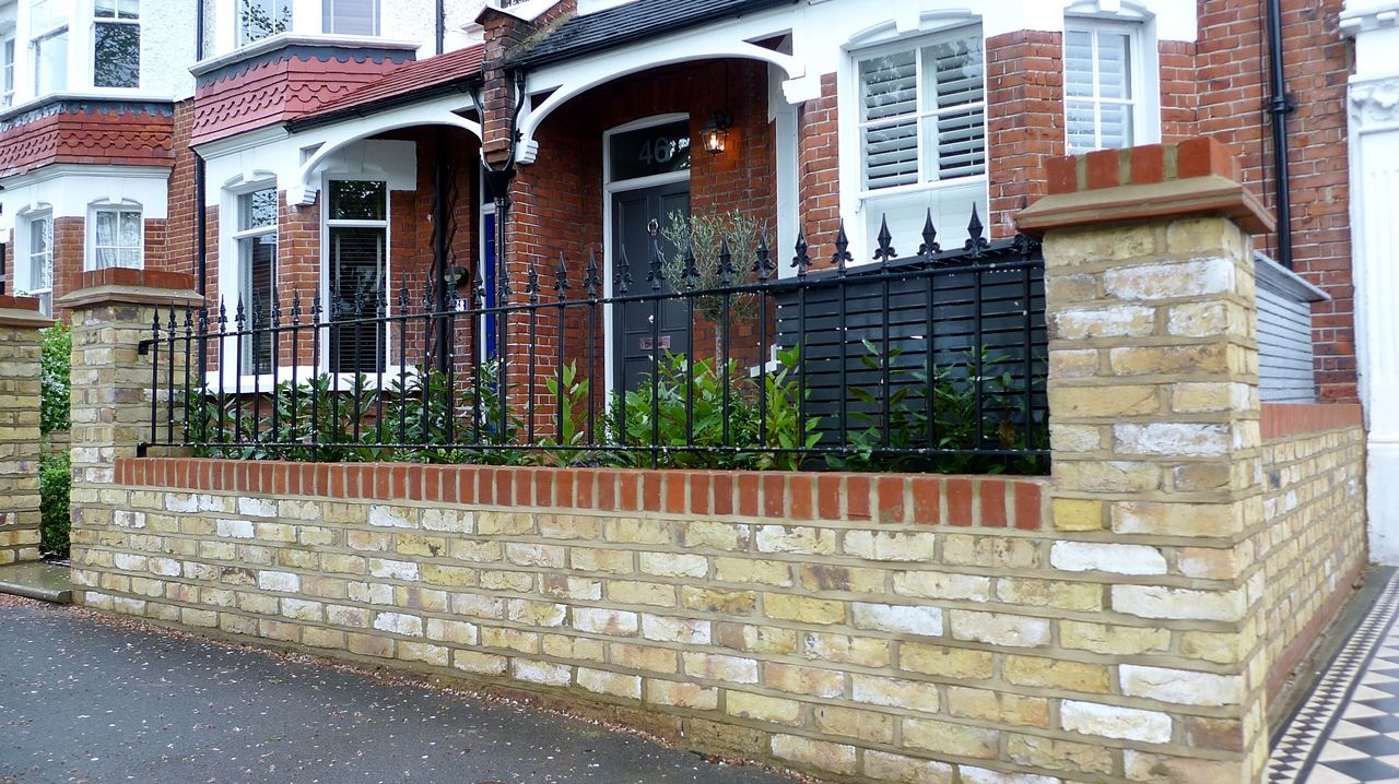 Bespoke Front Garden Bike Store Paving Slate Patio Front Metal Wrought Iron  Rail And Victorian Mosaic Tile Path Yellow Brick Garden Wall Wimbledon  London ...