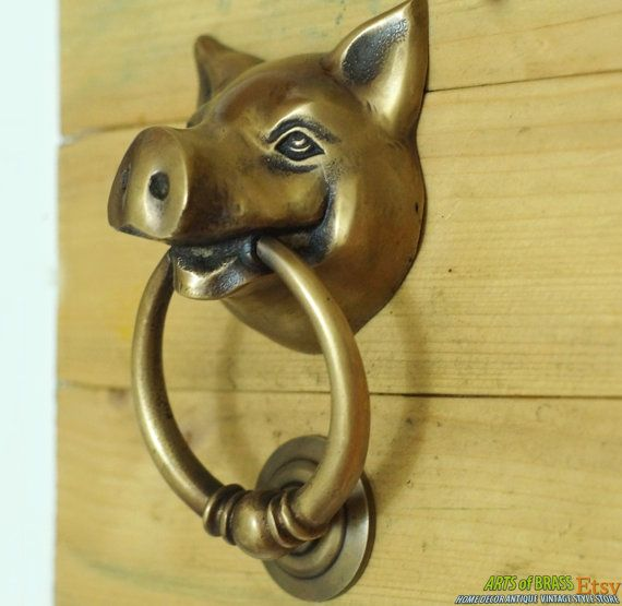 Very SAW I love it ! 5.11 Inches VINTAGE Solid Brass PIG Farm Head State by ArtsofBrass, $28.50