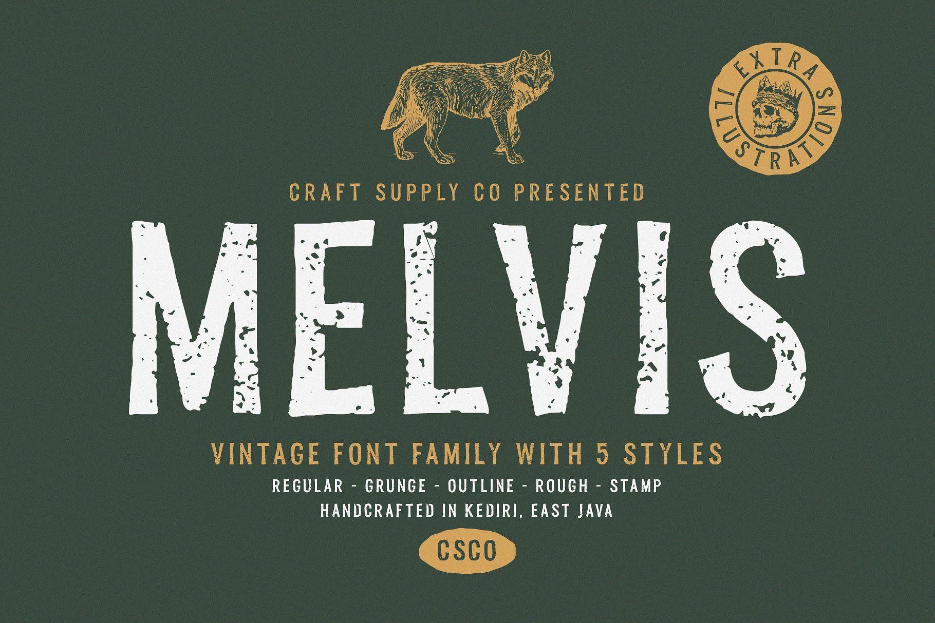 Melvis Vintage Font Family Extras Vintage Fonts Logo Fonts Vintage