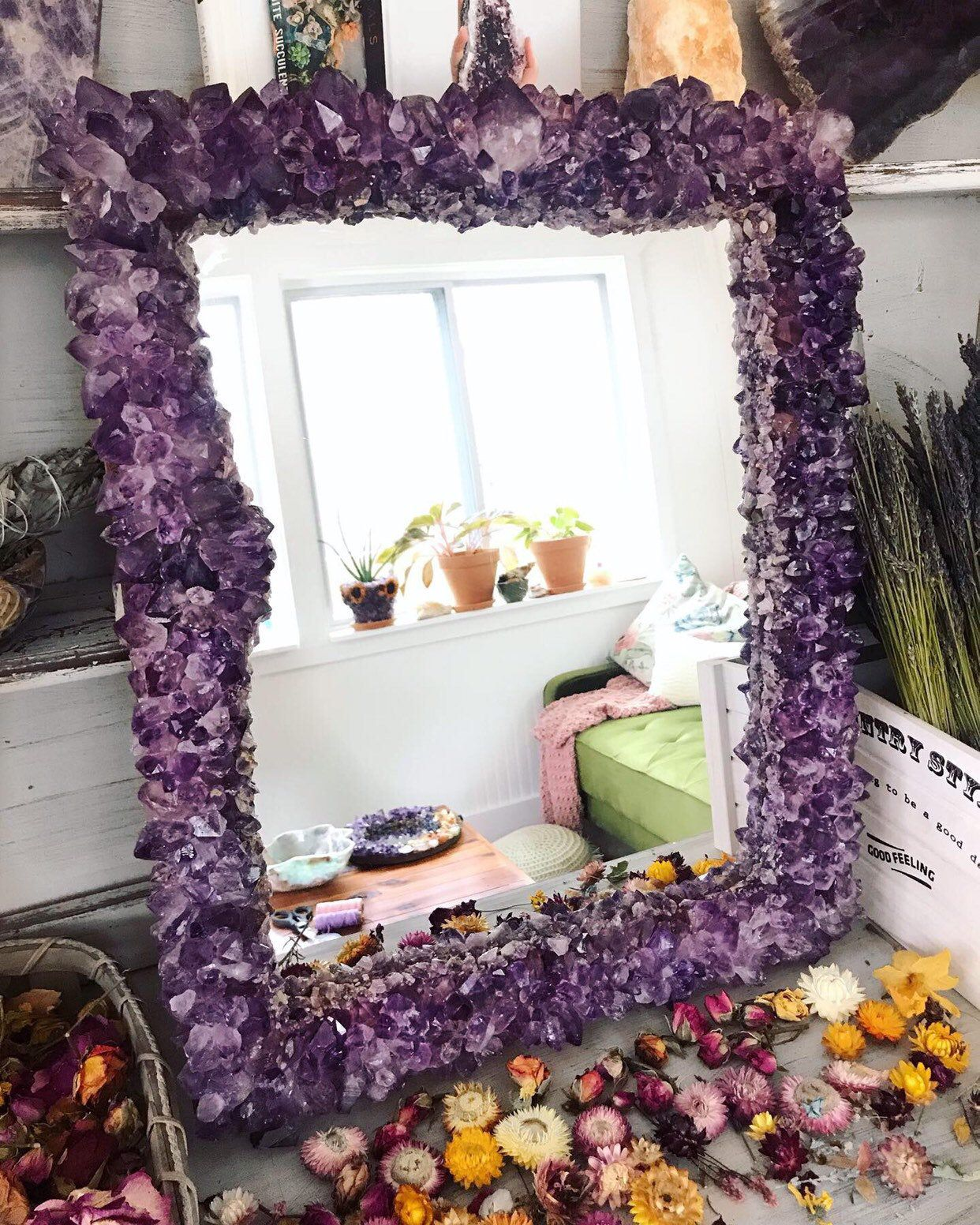AMETHYST Crystal Mirror // MADE To ORDER 2-4 months lead time | Etsy