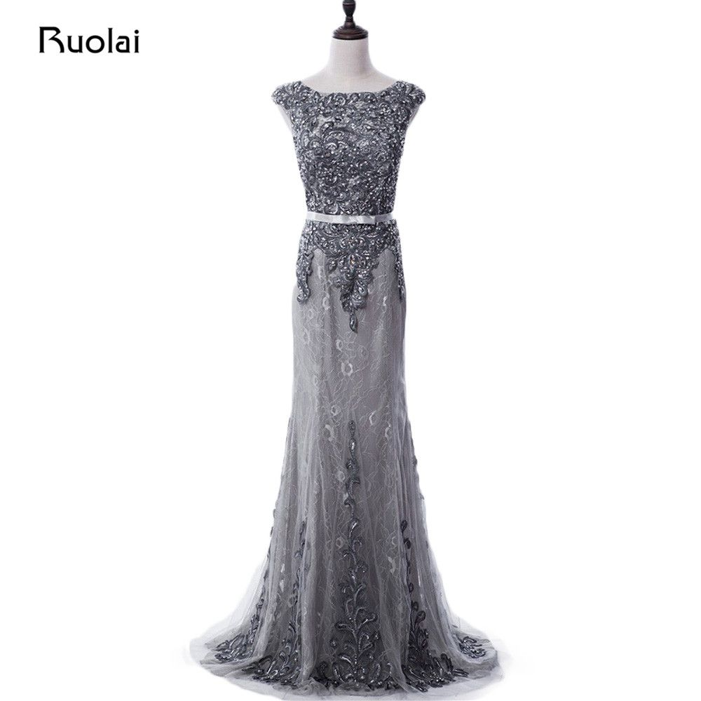 Real photo grey evening dress luxury beaded applique mermaid