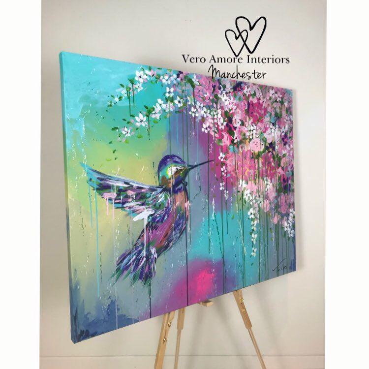 100x120cm original hummingbird painting by Toni Lane of