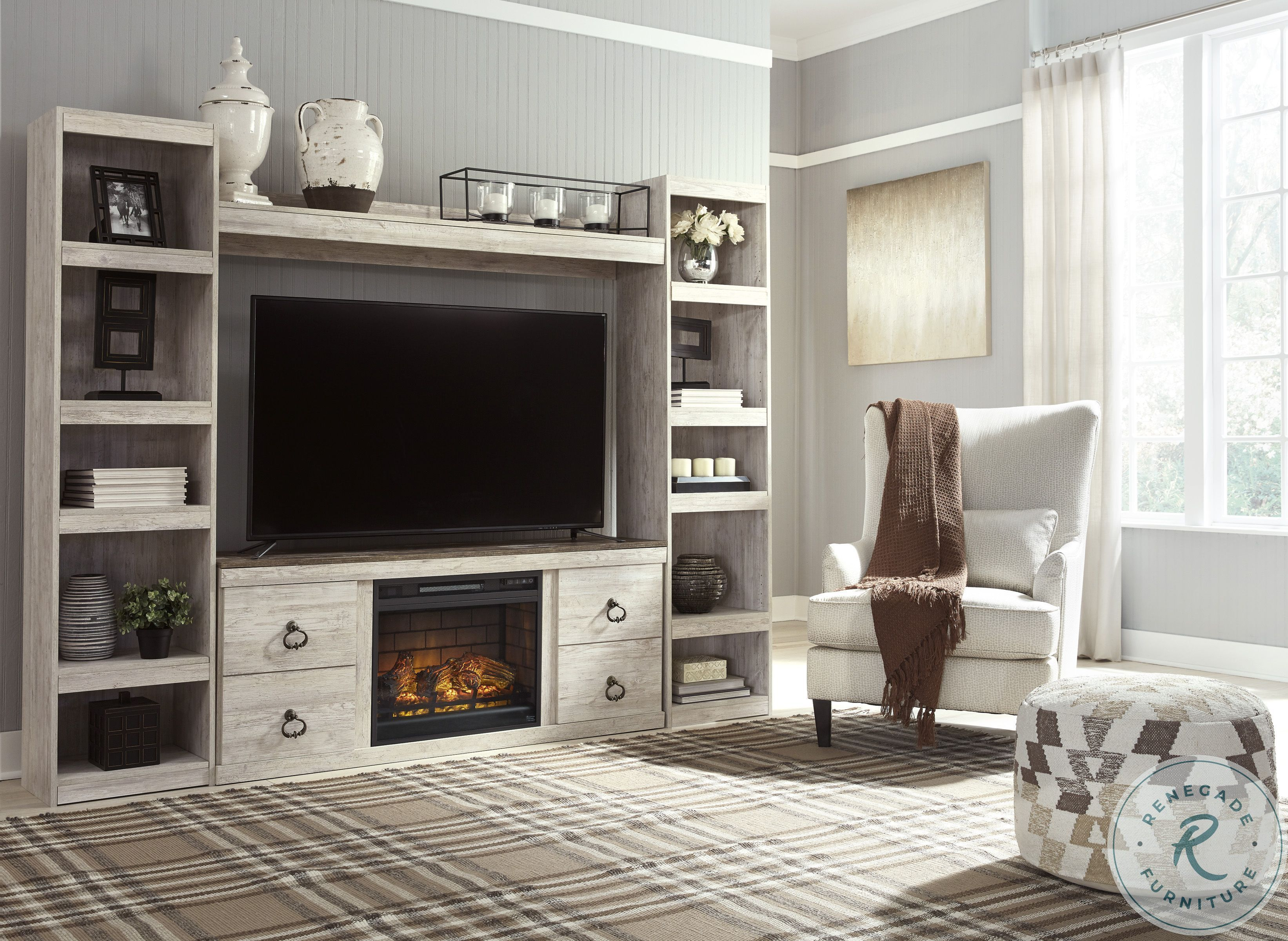Bellaby Whitewash Entertainment Wall With Fireplace Fireplace Entertainment Center Living Room Entertainment Center Fireplace Entertainment