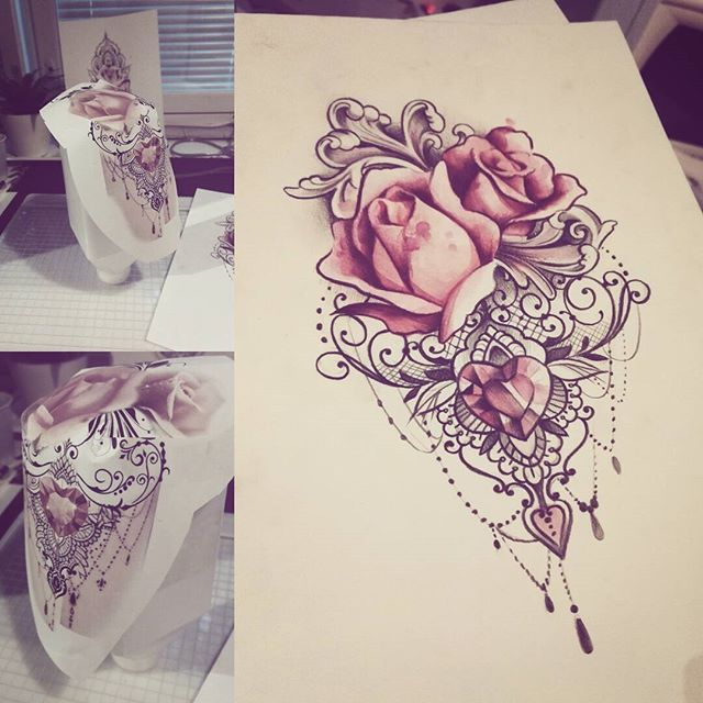 Mandala Roses And Lace Oh My Tatouage Tatouage Dentelle Tatouage Manchette