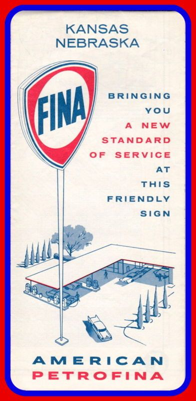 FINA Kansas Nebraska Road Map Vintage Gasoline Oil Products - Roadmap of nebraska