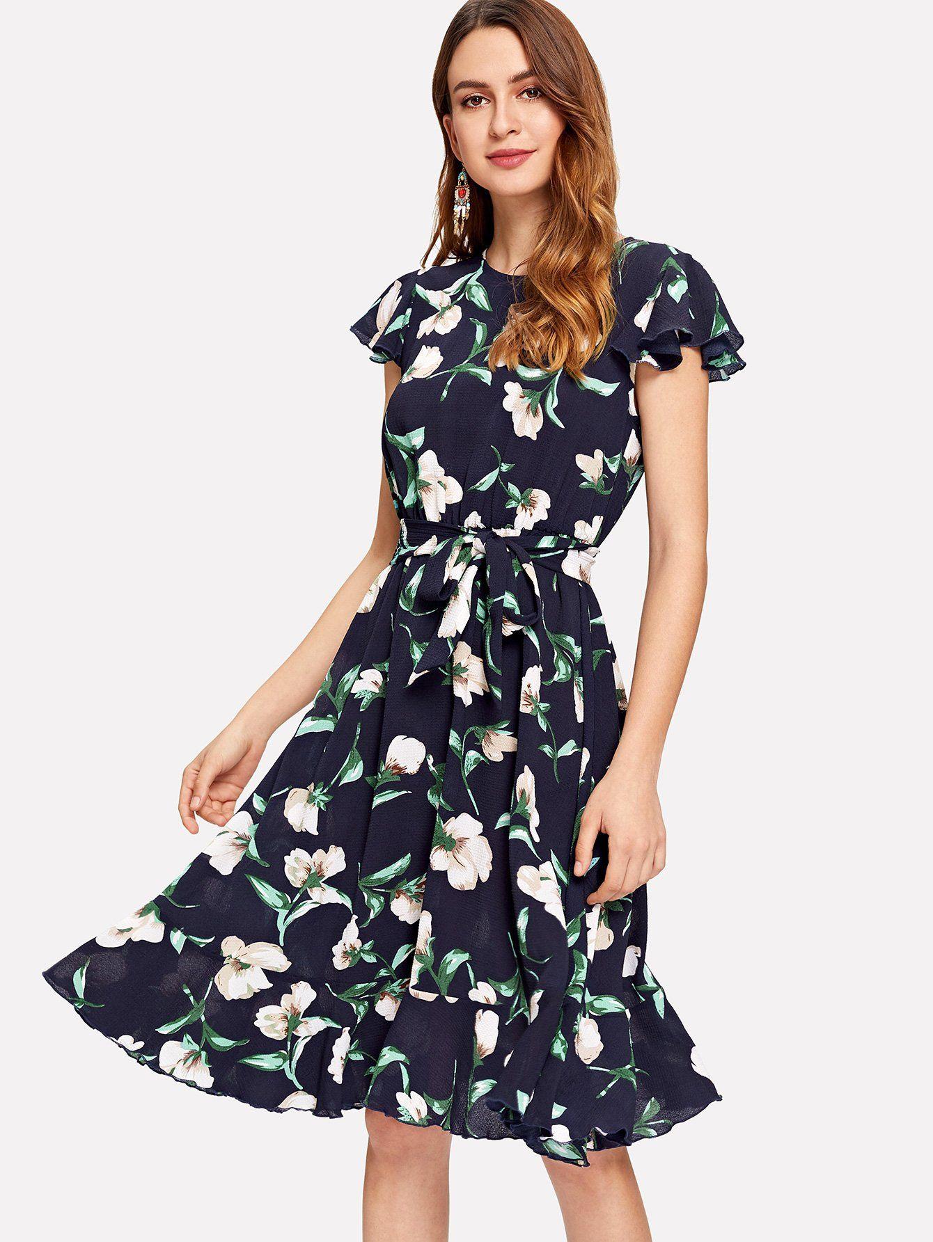 Flutter Sleeve Self Belted Ruffle Hem Dress Shein Sheinside Chiffon Summer Dress Round Neck Dresses Dresses [ 1785 x 1340 Pixel ]