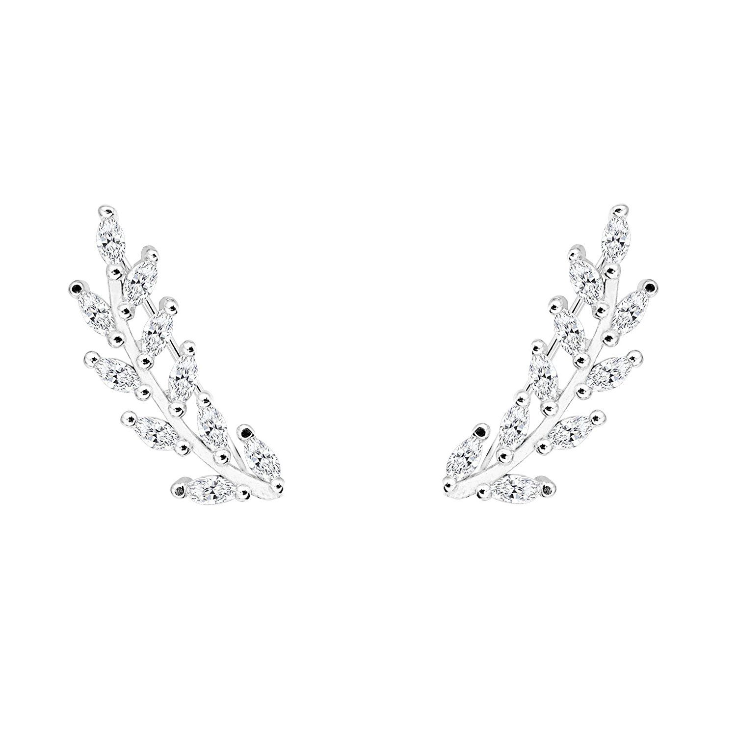 EVER FAITH® 925 Sterling Silver Cubic Zirconia Leaf Ear Cuff Wire Wrap Sweep Hoop Earrings Clear 1 Pair * You can get additional details at the image link.