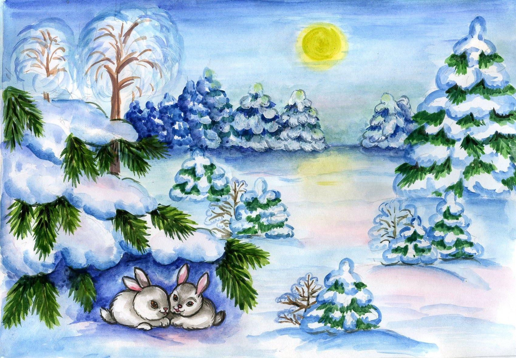Стиле, рисунок на тему зима