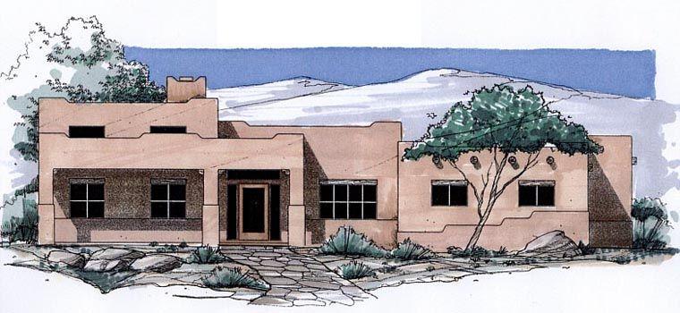 House Plan 54696 | Santa Fe Southwest Plan with 3220 Sq. Ft., 3 ...