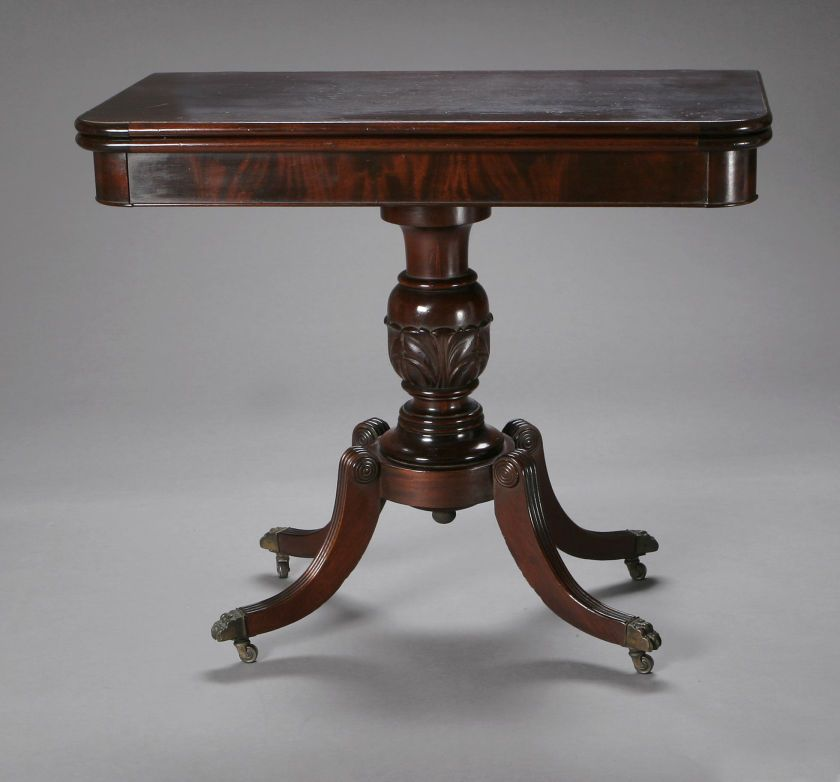 AN AMERICAN MAHOGANY FEDERAL STYLE FLIP TOP GAME TABLE Hathaway Furniture  Company, Early Twentieth