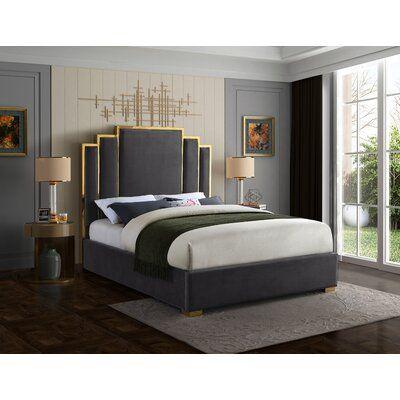 Mercer41 Amaia Velvet Upholstered Platform Bed Upholstered Platform Bed Contemporary Bed Bedroom Bed Design
