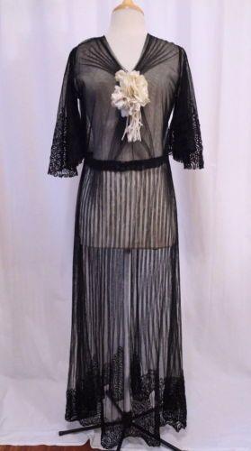 Antique Edwardian Deco Net Lace Scroll Sheer Origami Flowers Downton Abbey Dress   eBay