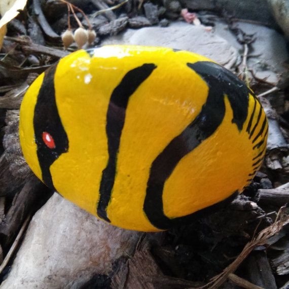 fish painted rock in yellow and black small nautical by petimagery