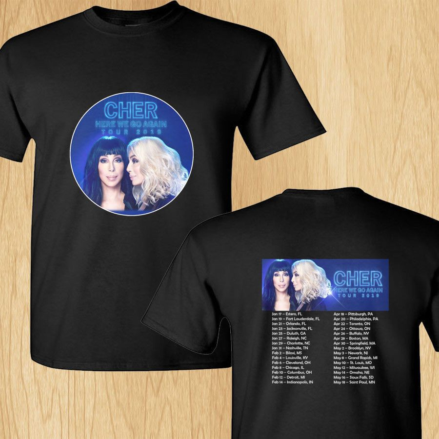 Cher Here We Go Again north american tour concert 2019 tee shirt S-3XL
