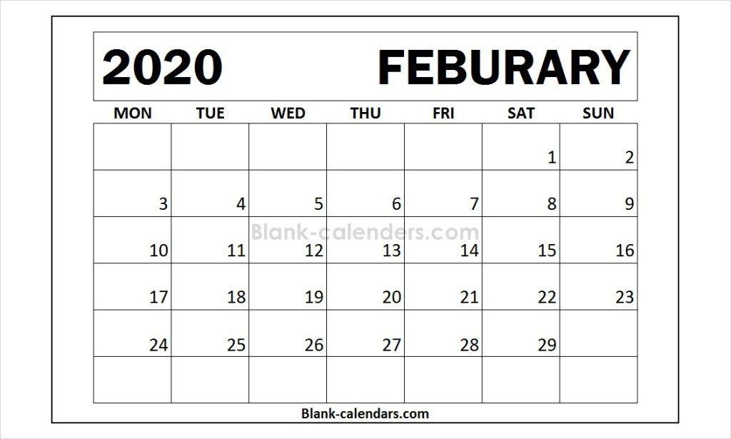 Month Of February 2020 Calendar Template Calendar Template 2021 Calendar Words