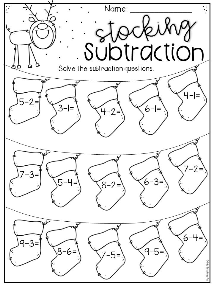 Christmas subtraction worksheet for kindergarten