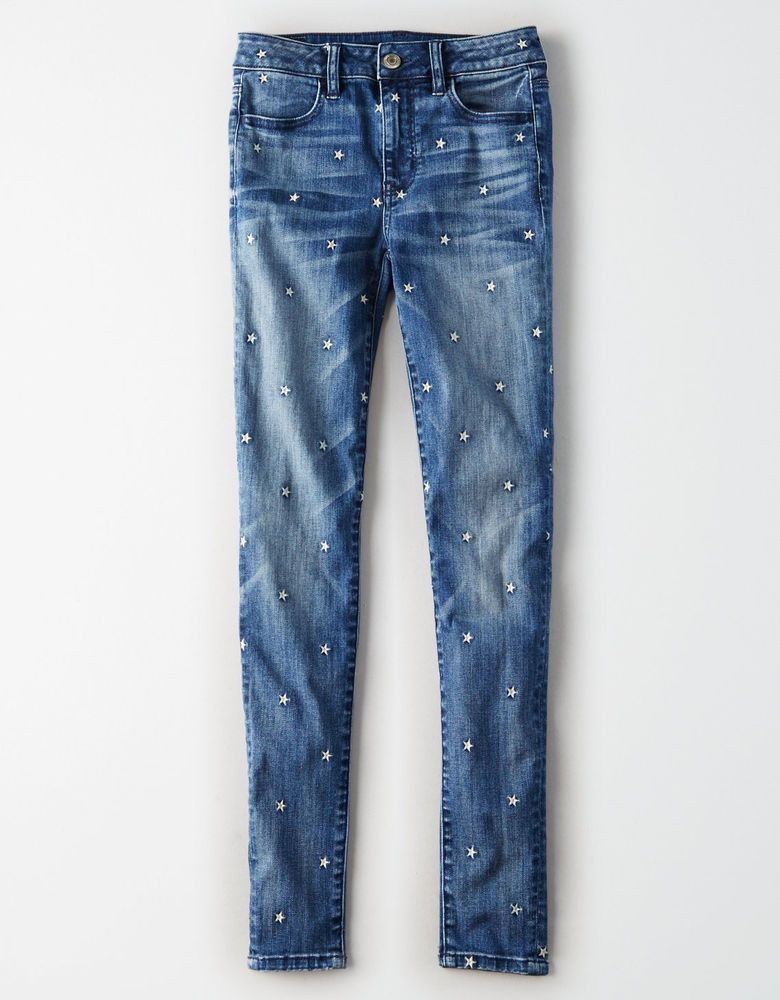 2cf3ce3e645540 American eagle women's jeans high waisted jegging embroidered indigo stars  sz14 #AmericanEagleOutfitters