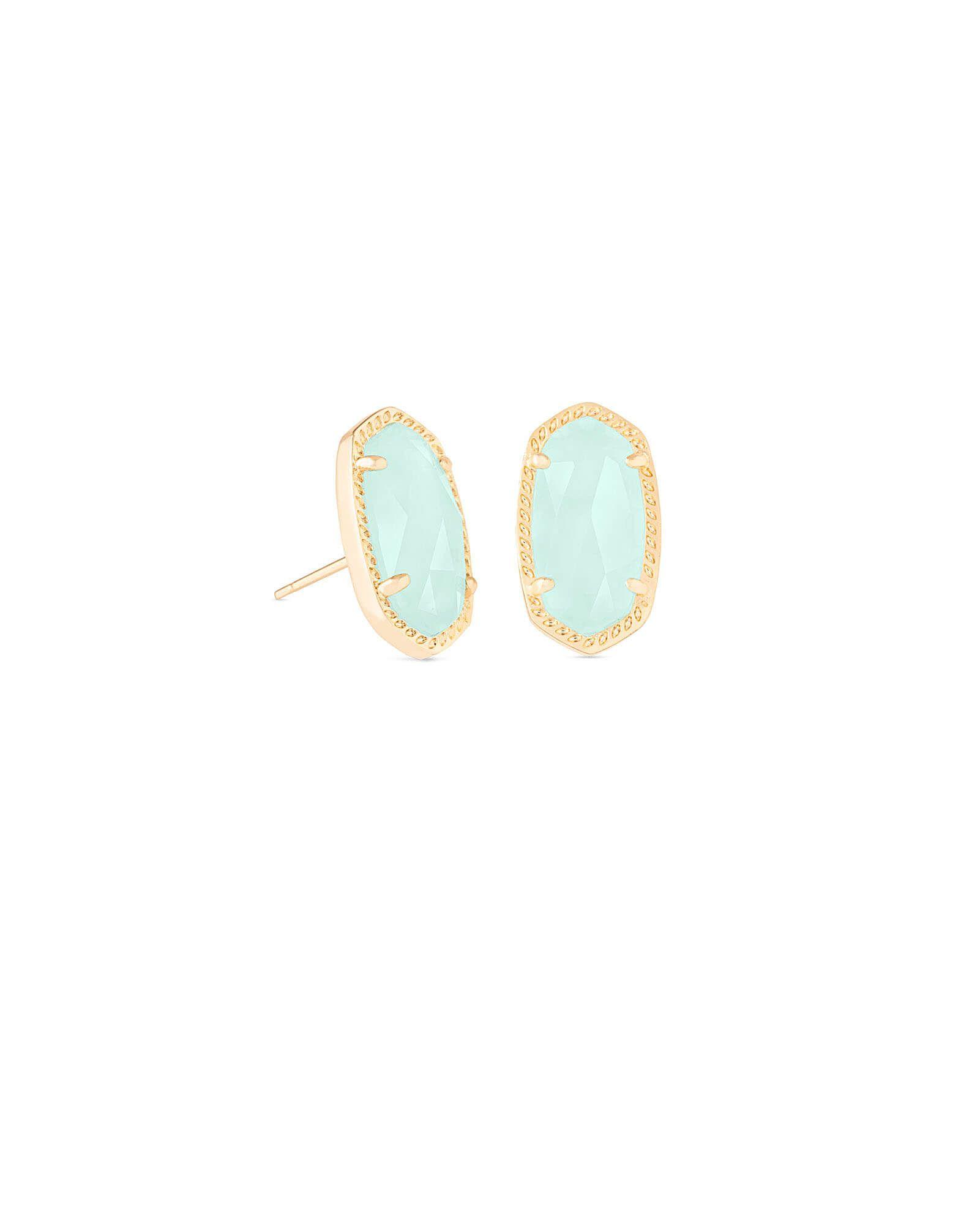Matte Rose Gold New Kendra Scott Lady Stud Earrings In Golden Sand Drusy