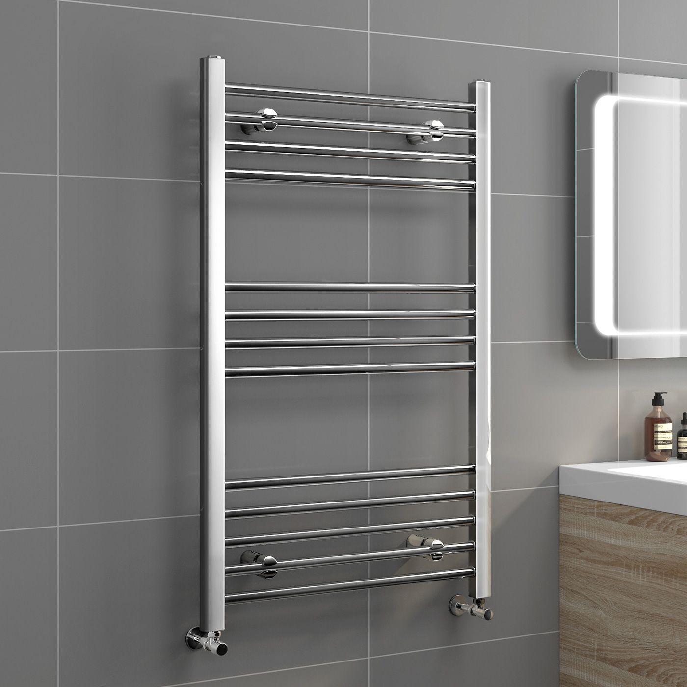 Natasha ladder rail straight modern electric towel radiator in chrome - 1000x600mm 20mm Tubes Chrome Heated Straight Rail Ladder Towel Radiator Natasha Basic