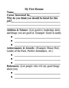 My First Resume. I Might Try This, Kids Can Apply For Jobs In The Class And  Get U0027paidu0027 Each Week.