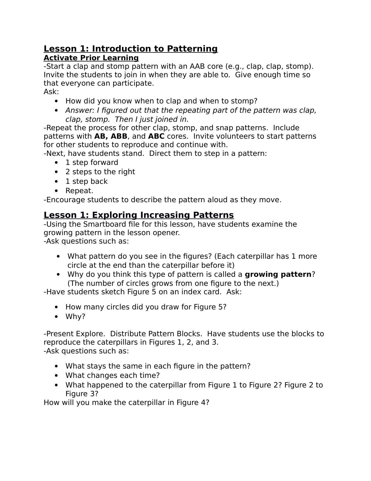 Patterning Unit Lesson Plans Resource Preview