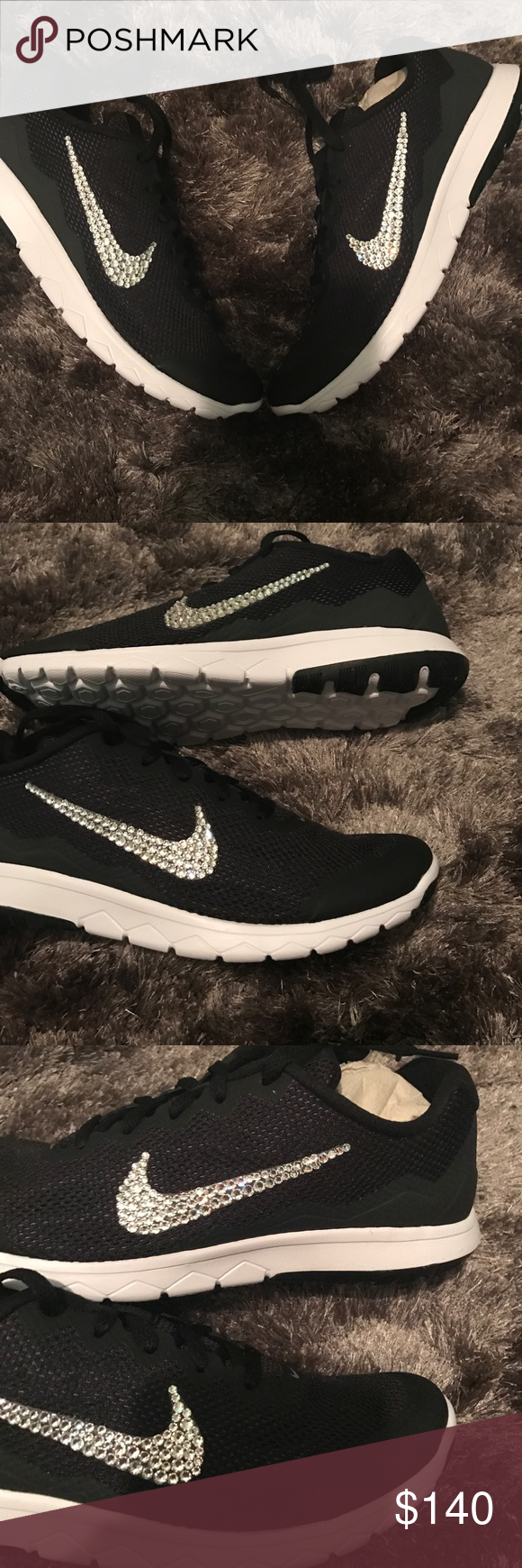 Women s Nike Bling Flex experience sneakers NEW💎 Brand new in box women s  Nike sneakers customized with Swarovski crystals hand placed on the outside  ... d3a36f3b9