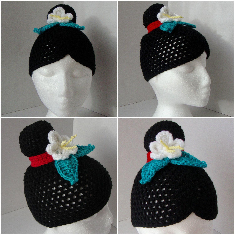 Mulan  Disney Inspired Crochet Hatwig, Black Hair, White Flower,