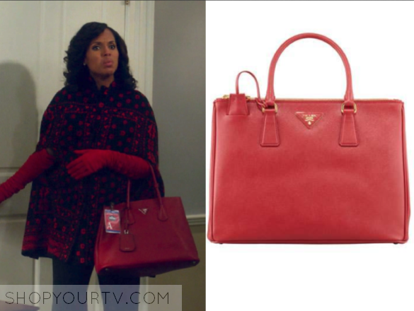 6f25555cc0eb Olivia Pope red saffiano Prada bag with her Alexander McQueen cape coat on  Scandal 6x01