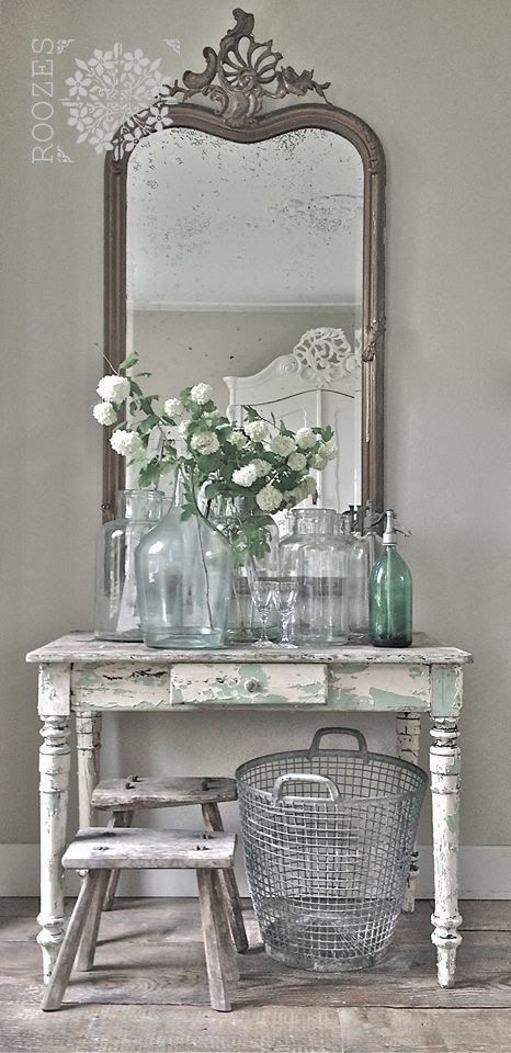 Minus the jars & upolster the bench, this would be a super cute vanity.