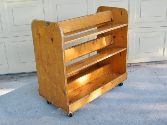 Vintage Wooden Library Book Cart Rolling Book Cart By