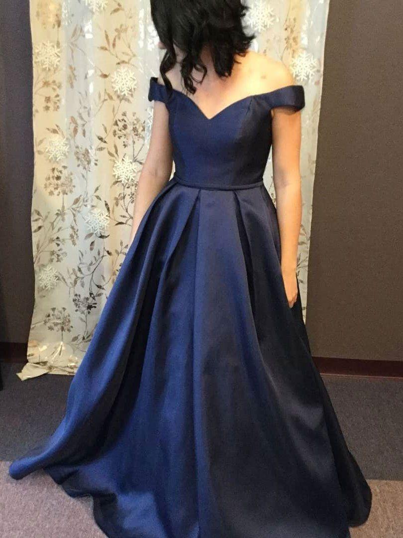 d8d8e714b0 A-line Off the Shoulder Navy Satin Cheap Formal Long Prom Dresses ...
