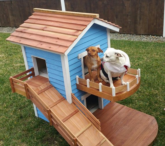 Two Story Dog House By Happypawsdoghomes On Etsy Dog Cages Cool