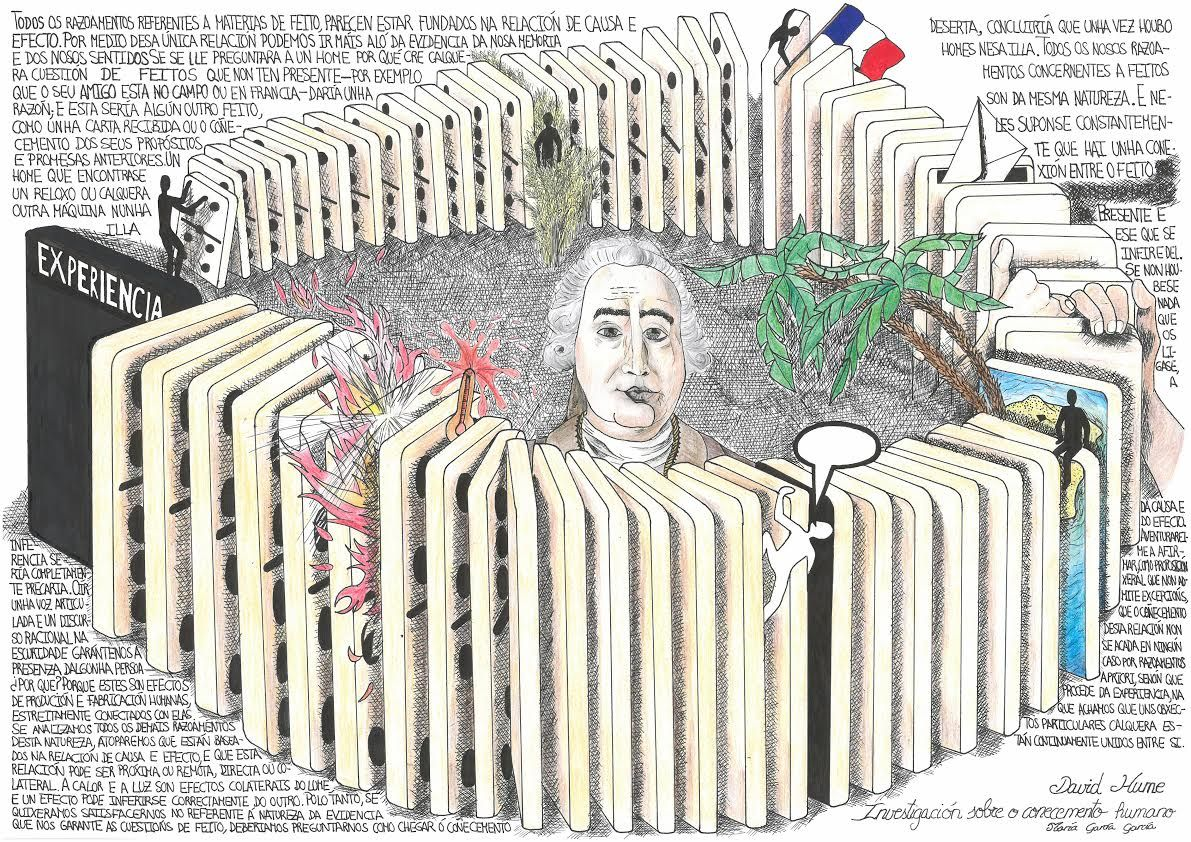 Ilustración de María García sobre un texto de David Hume. Investigación sobre o Entendemento Humano. S.IV ©