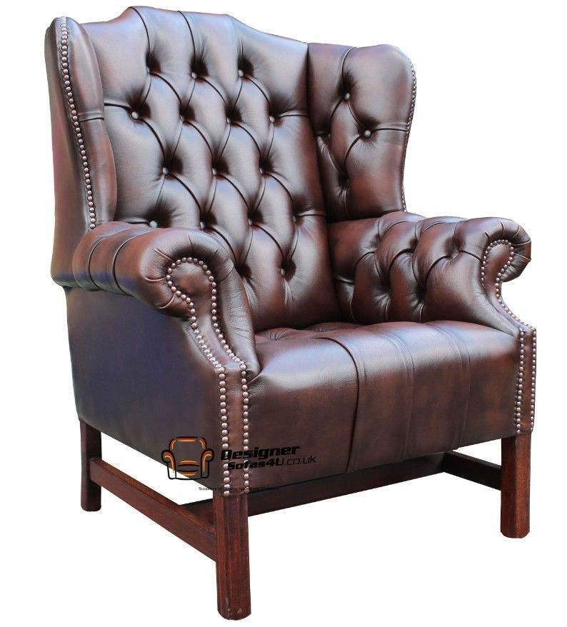 Chesterfield Churchill Fireside High Back Wing Chair Antique Brown Leather - Chesterfield Churchill Fireside High Back Wing Chair Antique Brown