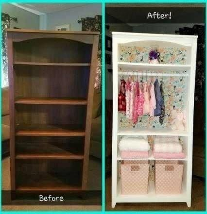 Nursery Decorating Ideas we LOVE for small nursery bedrooms WITHOUT a closet.  Repurpose old bookshelf furniture piece into a baby or toddler closet and storage area.