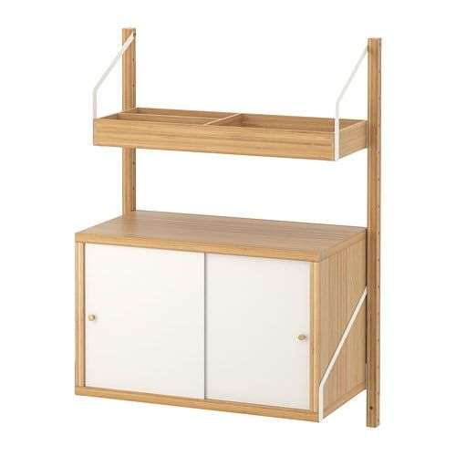 Ikea Svalnas Bamboo White Wall Mounted Storage Combination Wall