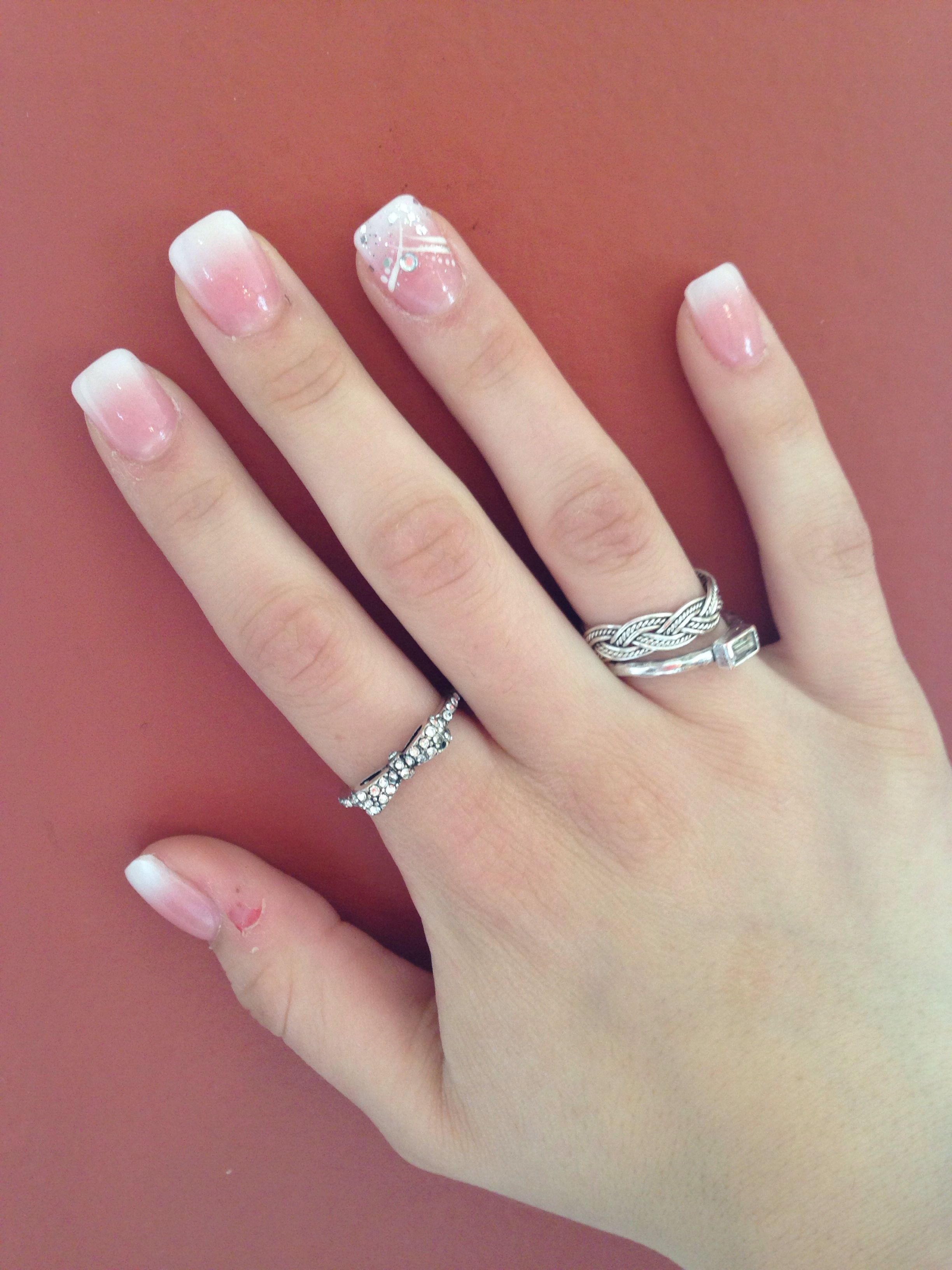 Full set acrylics. Ombre faded French manicure with rhinestone ...