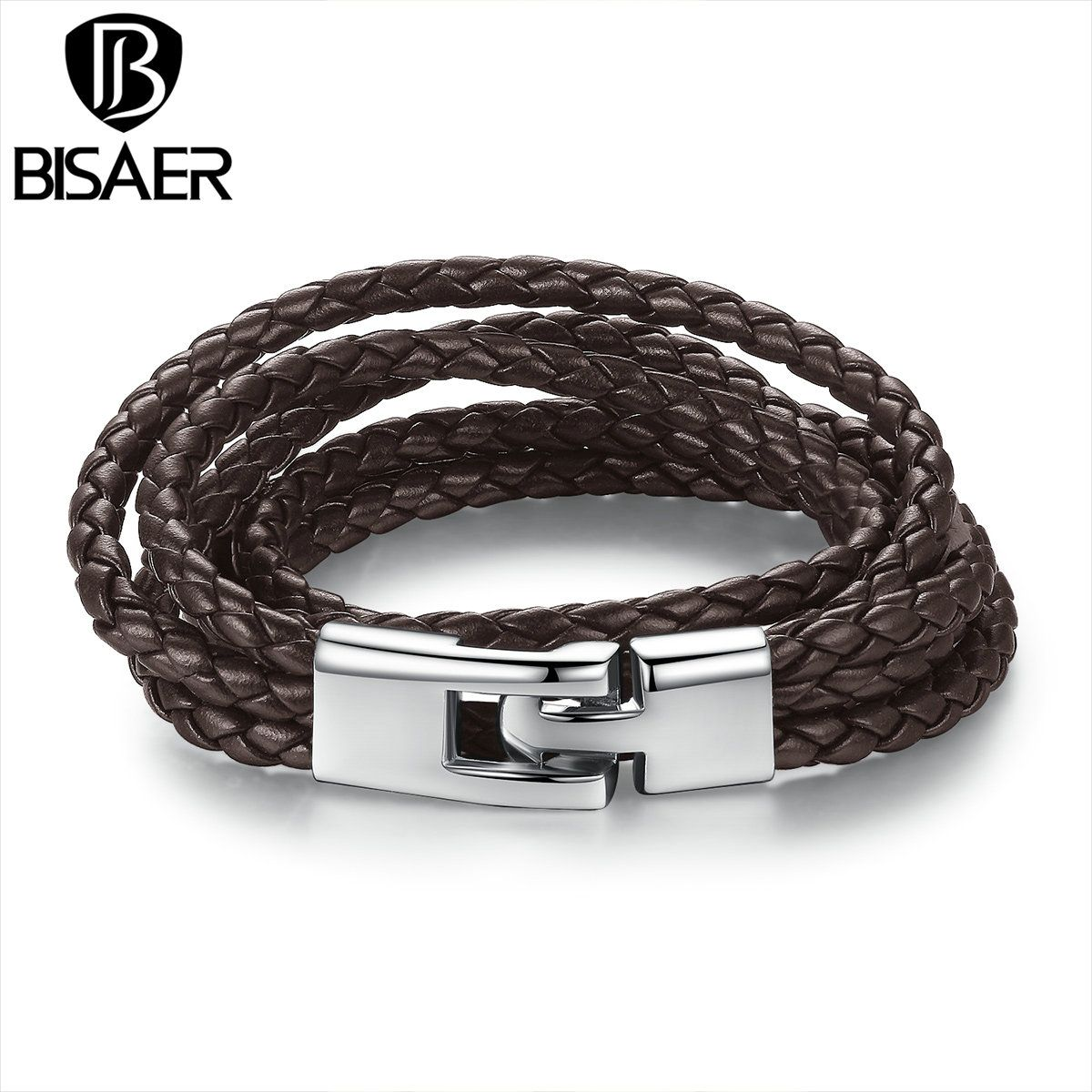Bisaer new trendy leather bracelet braided rope chain with magnetic