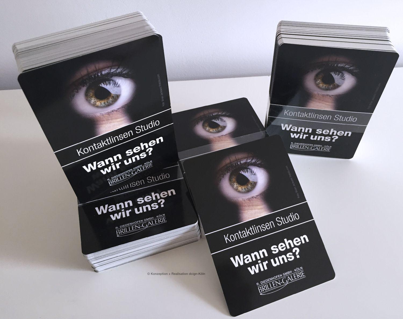 Reminder Postkarte eines Optikers für seine Kontaktlinsen-Kunden ...