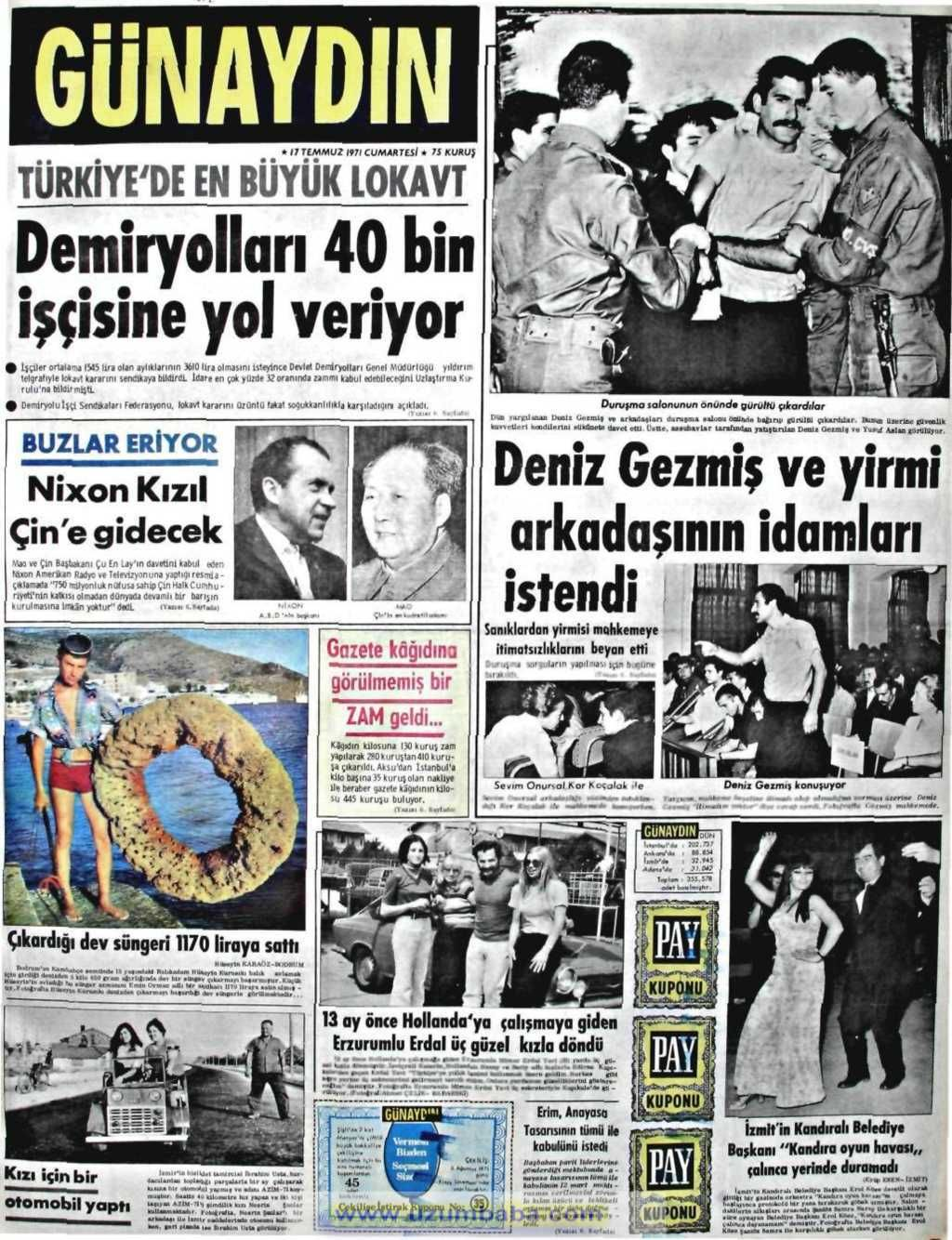 Günaydın gazetesi 17 temmuz 1971