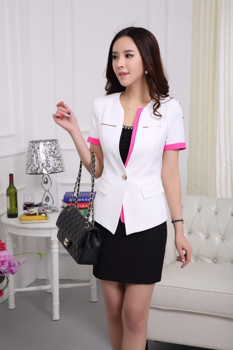 Formal Ladies Black Blazer Women Skirt Suits Work Wear 2 Piece ...