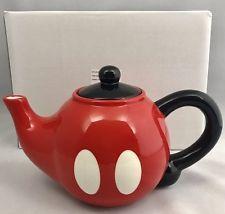 Disney Parks Mickey Mouse Pants Red Ceramic Teapot Tea Pot Kitchen New In Box