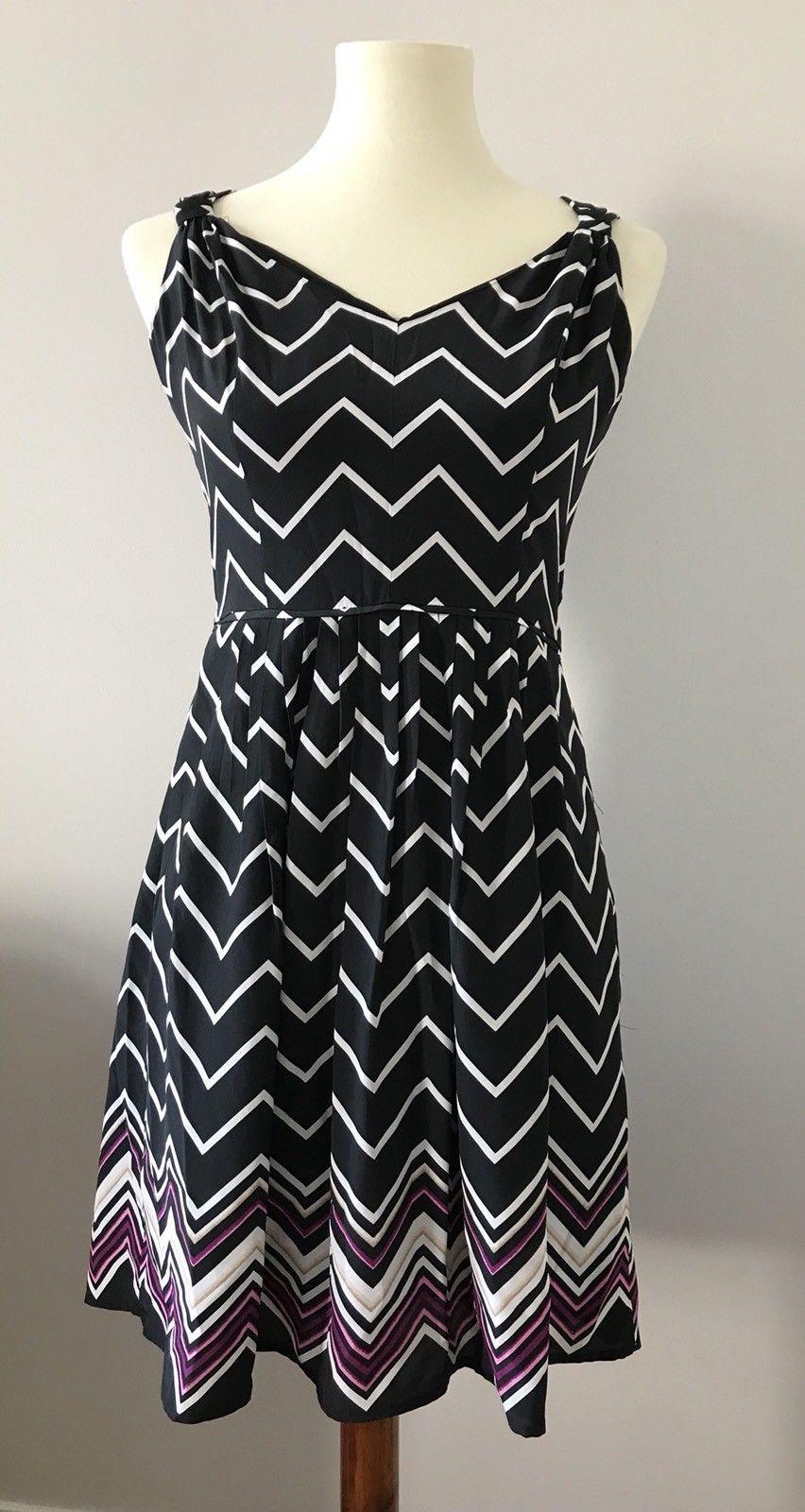 a63de68aec White House Black Market Women s Romantic Fit   Flare Striped Silk Dress  Size 2
