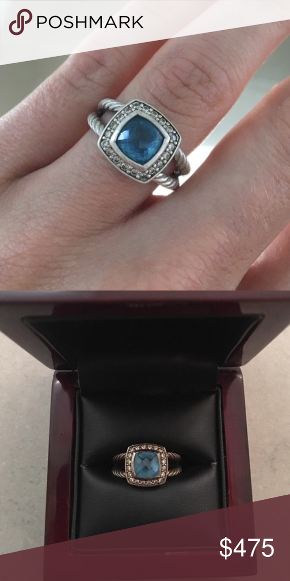 David Yurman Petite Albion Blue Topaz ring Beautiful ring! Just need a smaller size. Very willing to negotiate price -- just use the offer button please! :) David Yurman Jewelry Rings