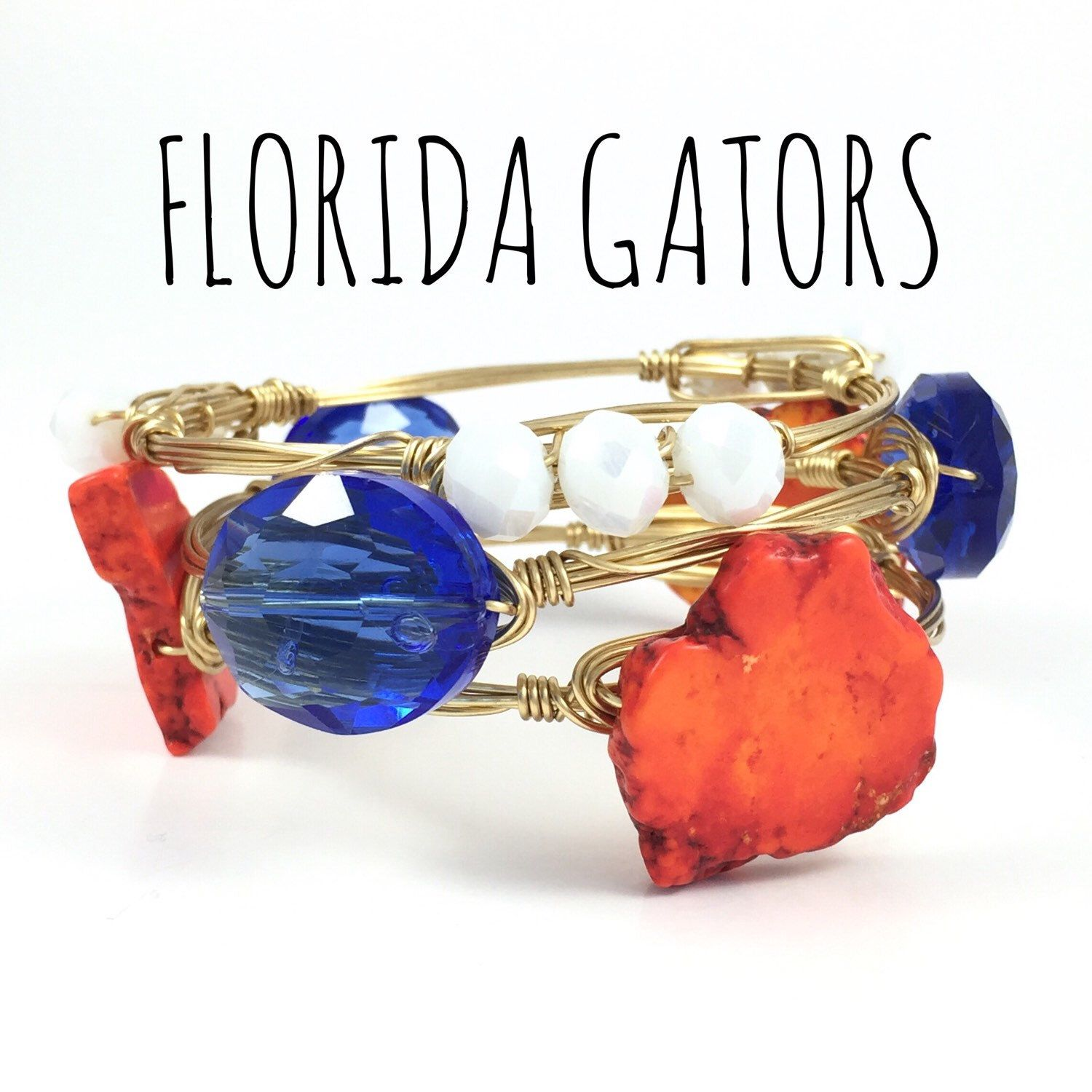 University of Florida Gators Game Day Wire Wrapped Bangles, Courtney And Courtnie, Slab, Crystal Bracelet, Handmade Jewelry by CourtneyAndCourtnie on Etsy (null)