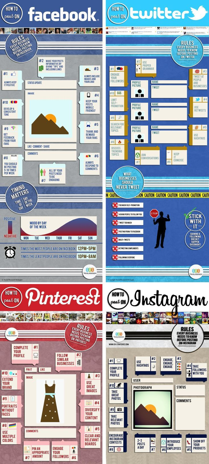 11 règles pour poster sur les médias sociaux, pinterest, twitter, facebook, instagram