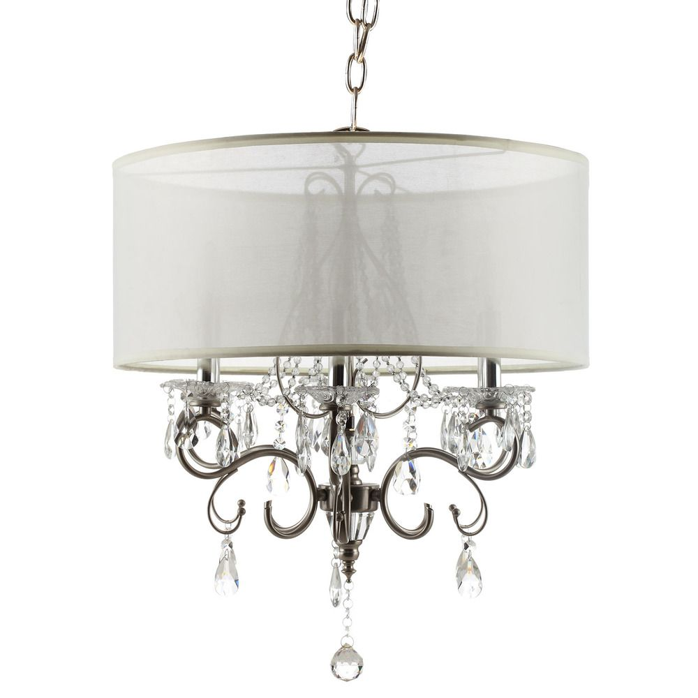 Silver Mist Hanging Crystal Drum Shade Chandelier By