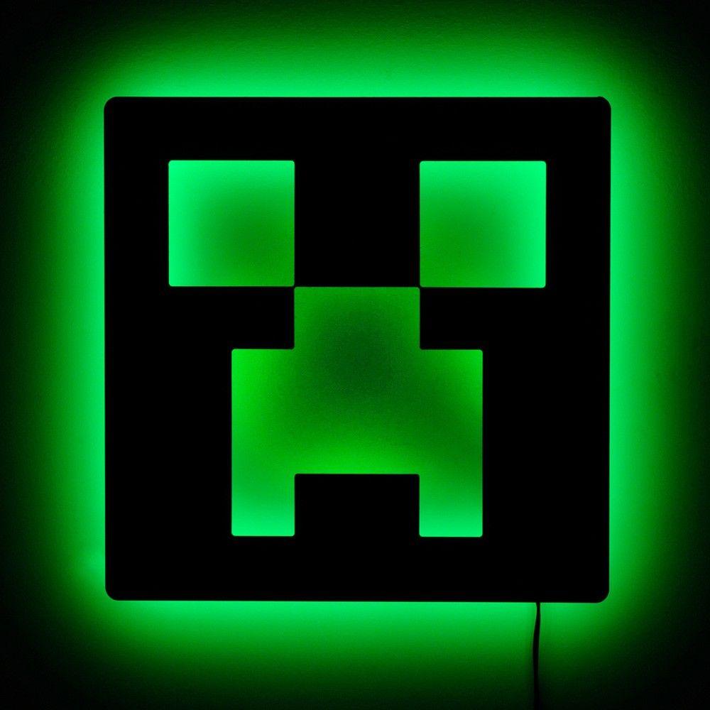 Lighted Minecraft Creeper Sign