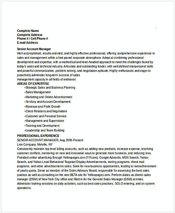 Senior Account Manager Resume , Resume for Manager Position , Many - Steps To Make A Resume