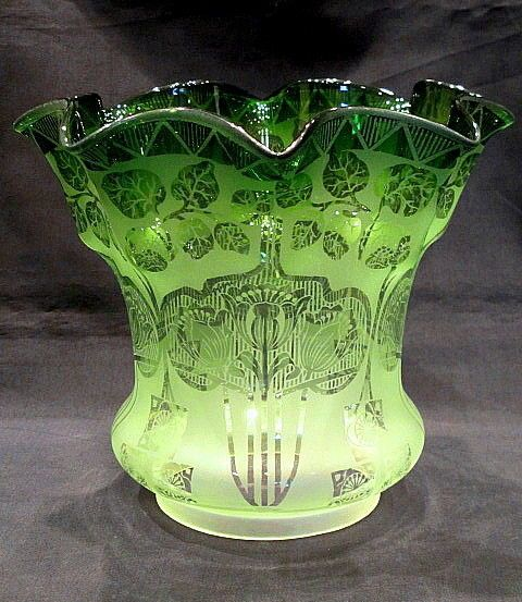 Gorgeous victorian etched glass oil lamp shade green to clear 4 gorgeous victorian etched glass oil lamp shade green to clear 4 inch fitter mozeypictures Gallery